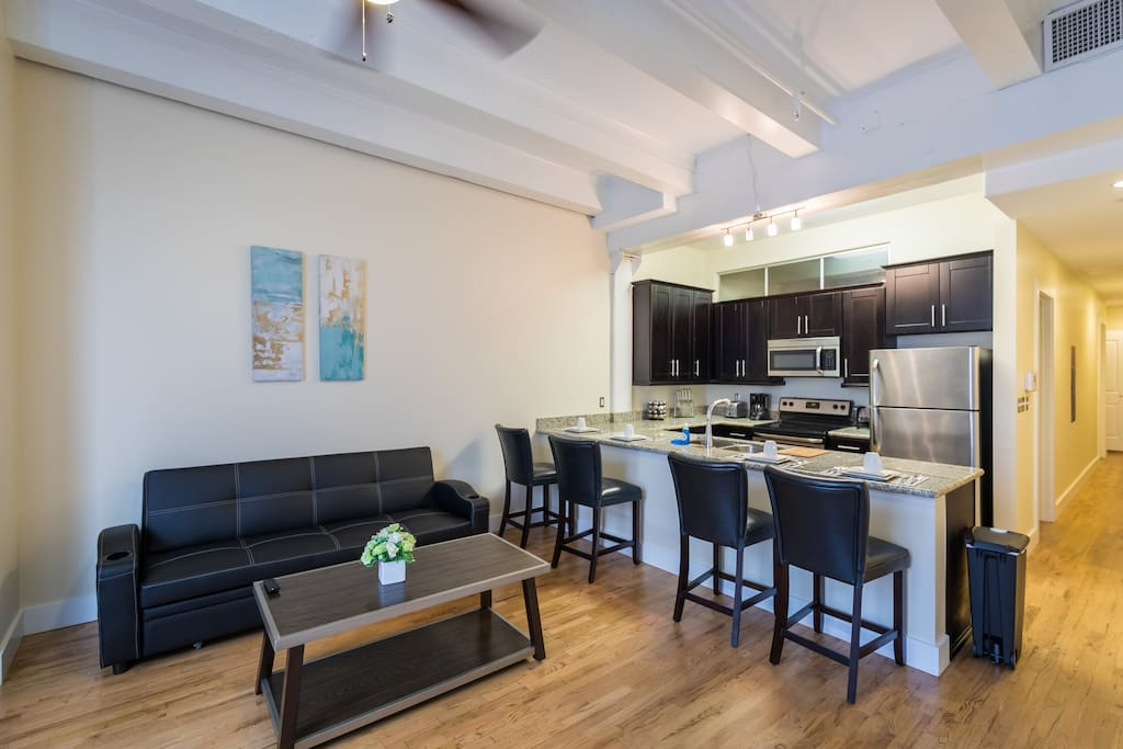 In-room kitchen/Seating area