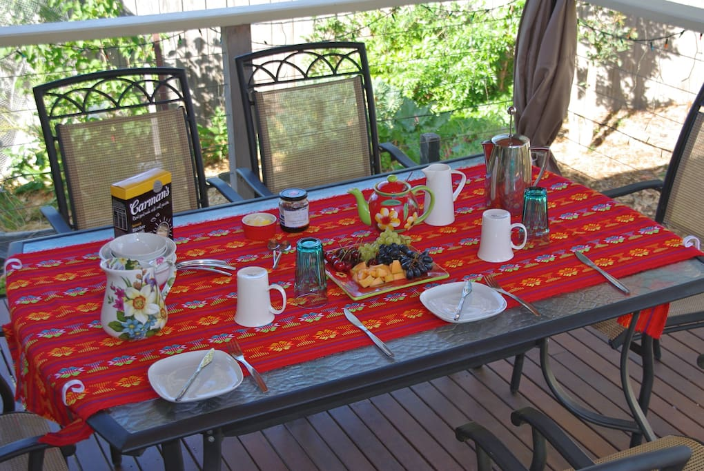 Breakfast on the deck (weather permitting)
