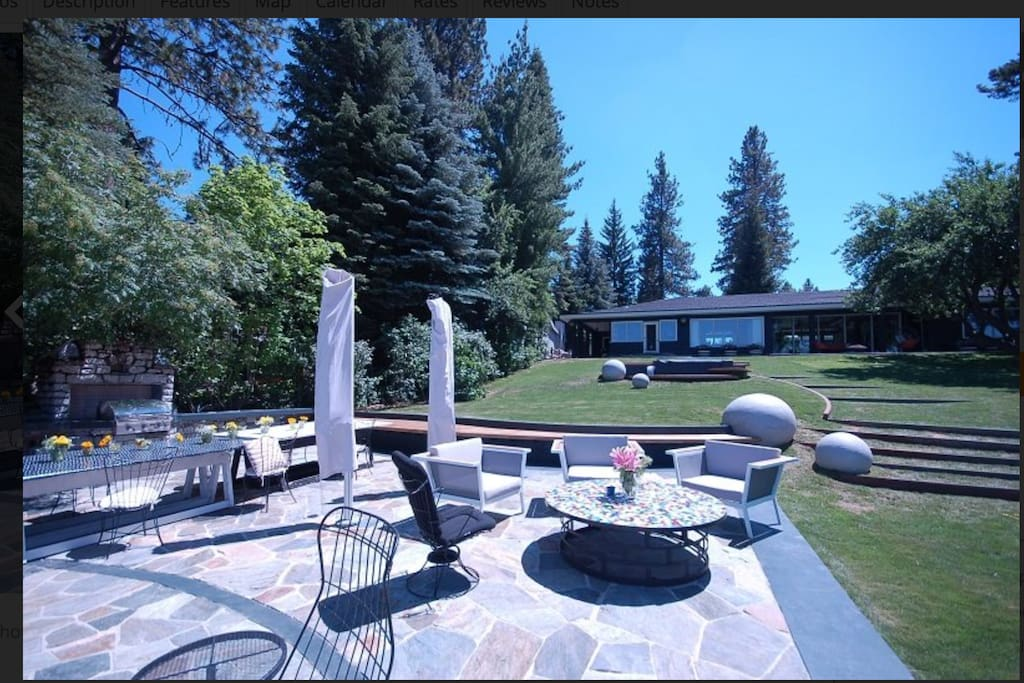 view of dining patio, from the beaches, with BBQ grill and tepanyaki hot plate