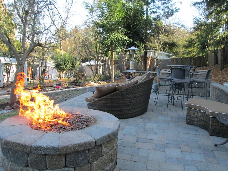 Upper patio (prior to cover) with Gas Fire Pit