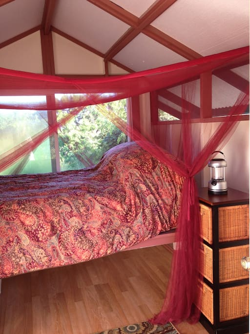Comfy bed inside the Polestar Cabin. Affordable, comfortable accommodations.