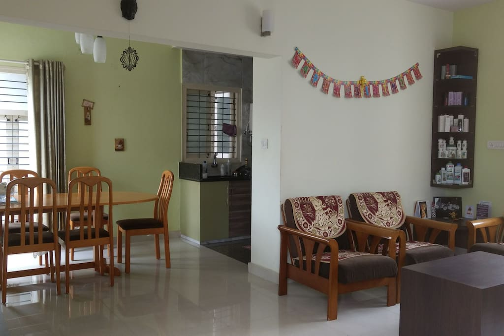 Common area, Living , Dining, Kitchen to be shared with other guests if any.