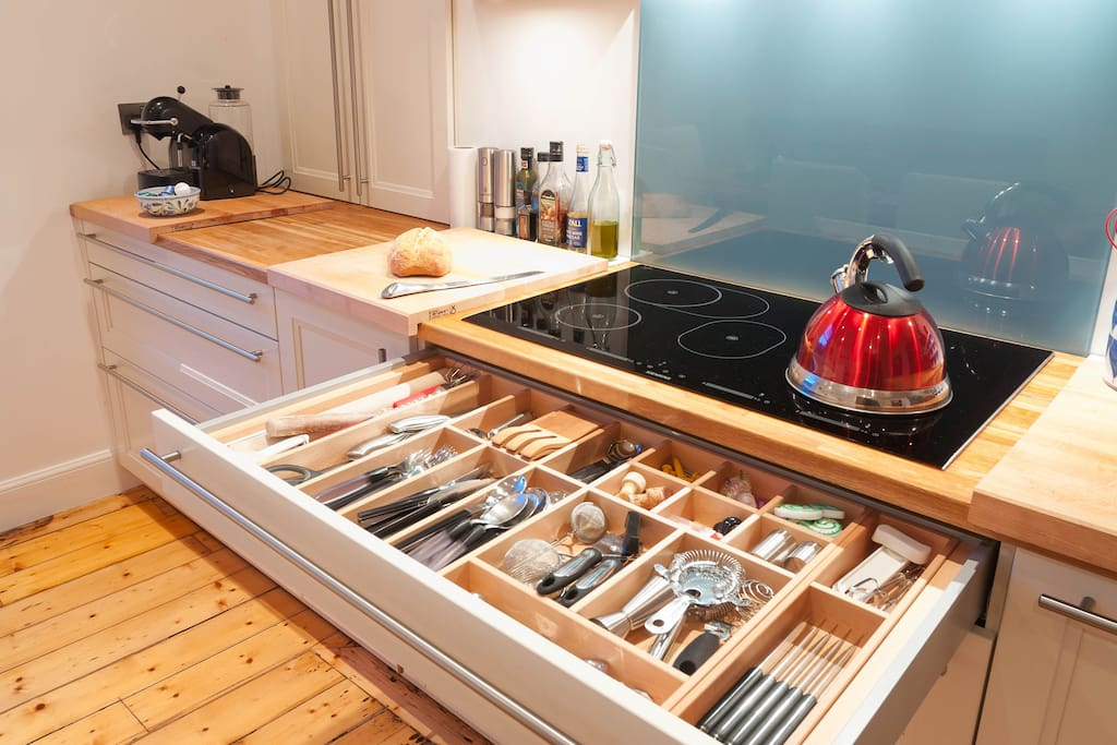 Kitchen - induction hob and utensils drawer