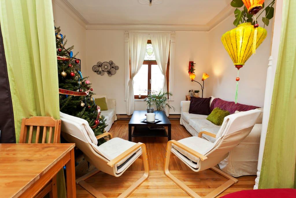 votre salon (possibilité de fermer la chambre du salon avec les rideaux épais verts)