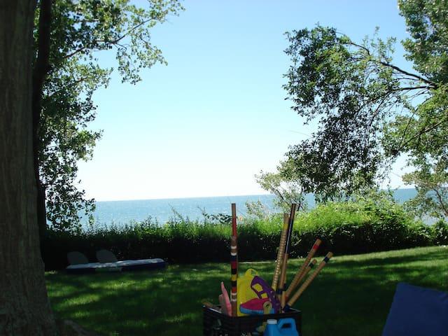 backyard facing water