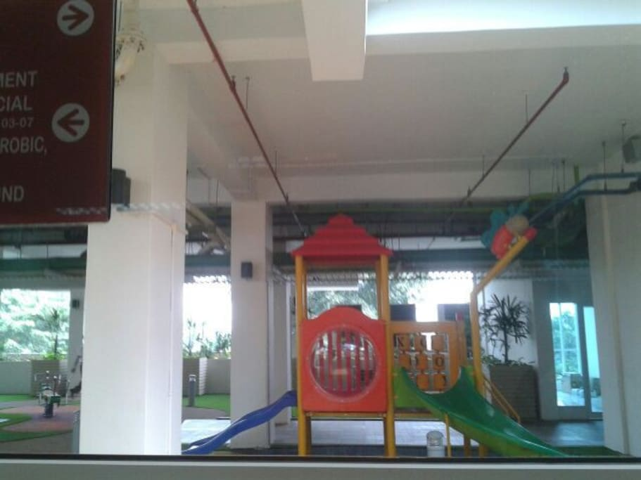 There are playground children at floor 5th. And you can look jakarta city