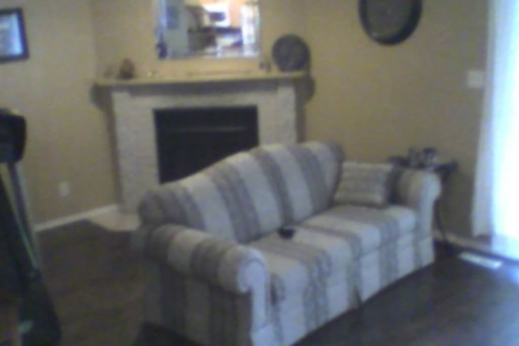 Living room with pull out couch and treadmill, fireplace