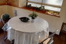Beautiful dining table is available in the living room.