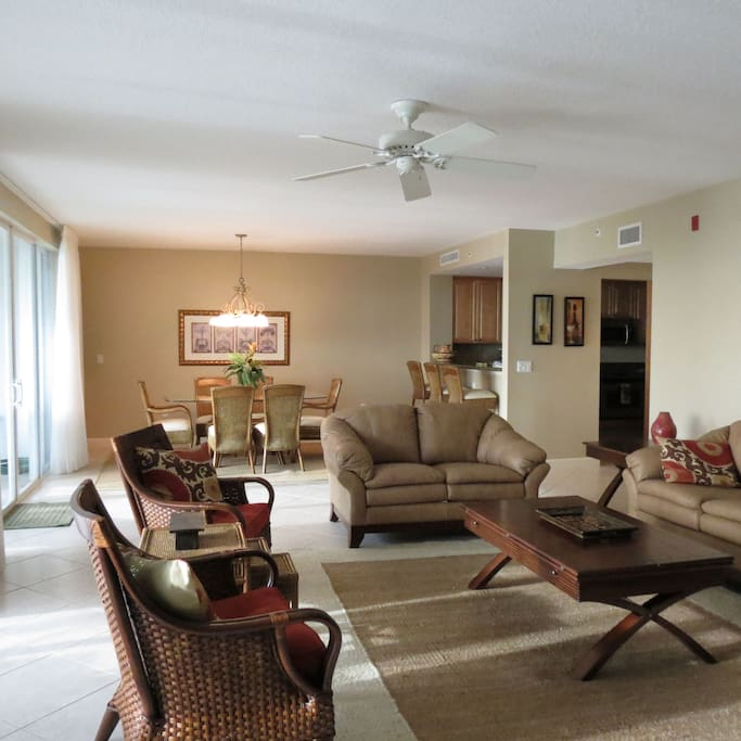 Recently renovated family room with sleeper sofa