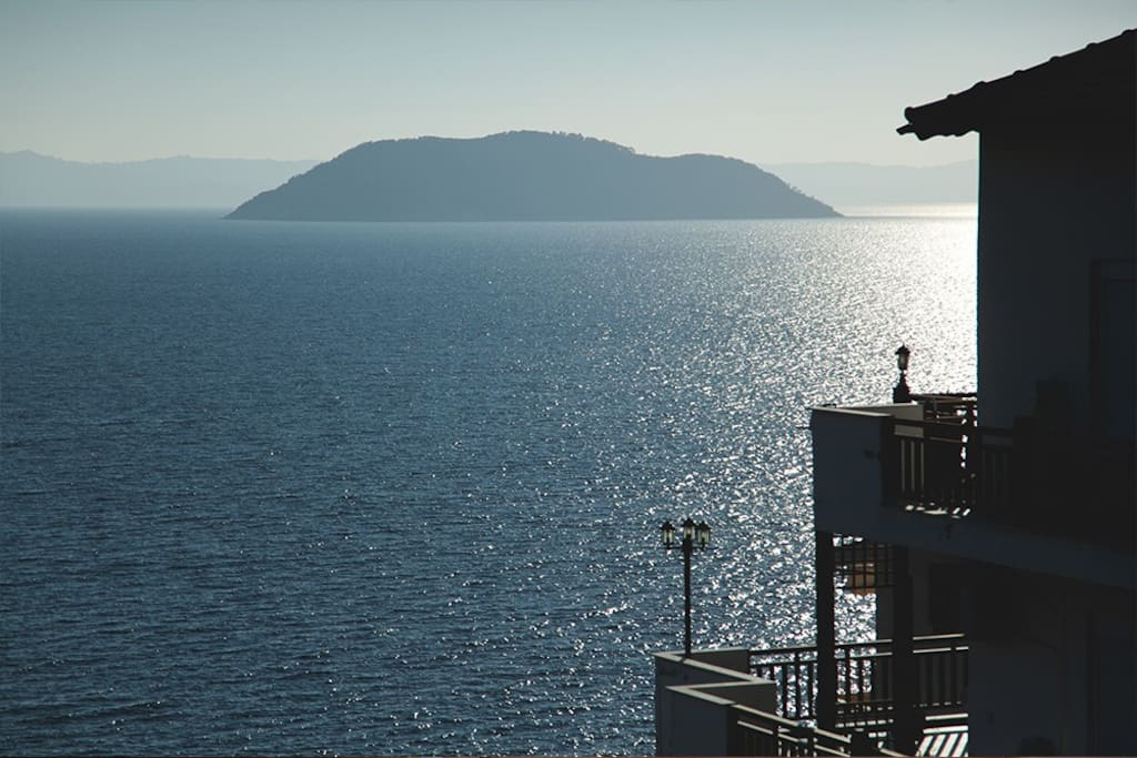 The island of Kelyfos (Turtle Island) as seen from one of the balconies.
