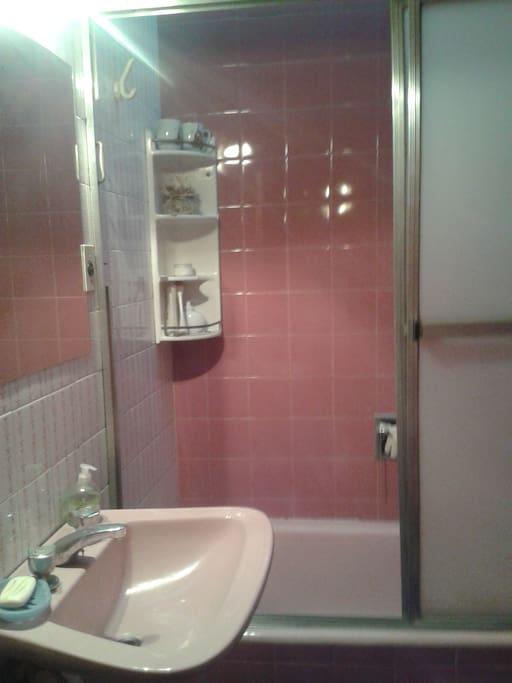 Baño equipado con toallas, jabón, shampoo y acondicionador