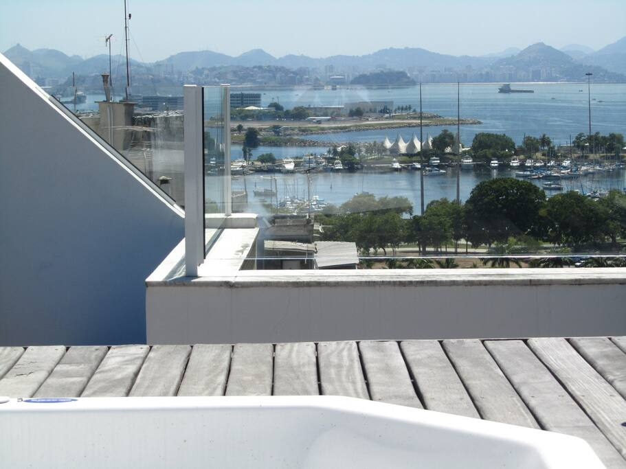 View over Marina da Gloria to Guanabara bay from inside Jacuzzi!