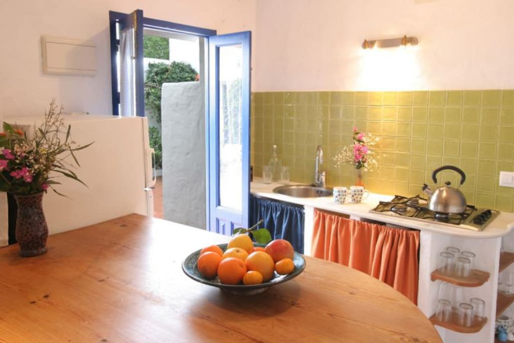 Kitchen with patio doors