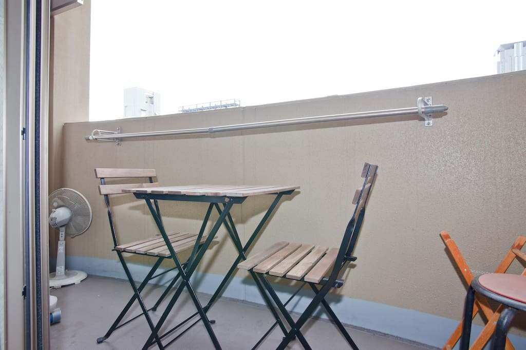 Enjoy breakfast outside on our balcony with this picnic style table set.
