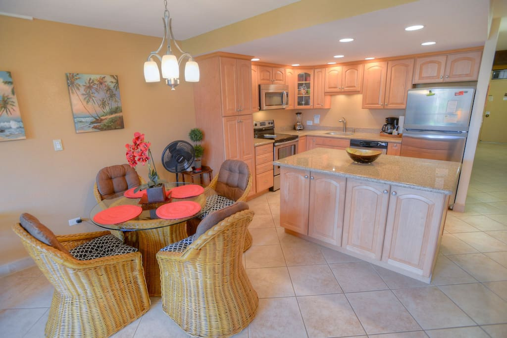 Lovely remodeled kitchen and comfortable dining area.