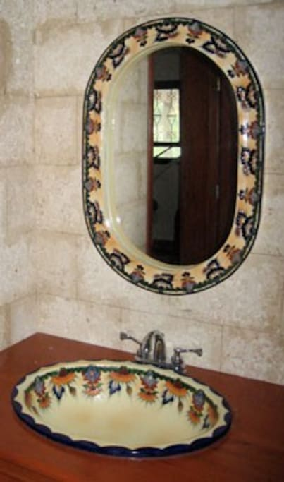 Talavera sinks in all of the bathrooms