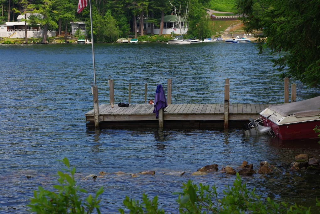 30 ft dock for boating and swimming. Boat seen in photo will not be there when house is rented.