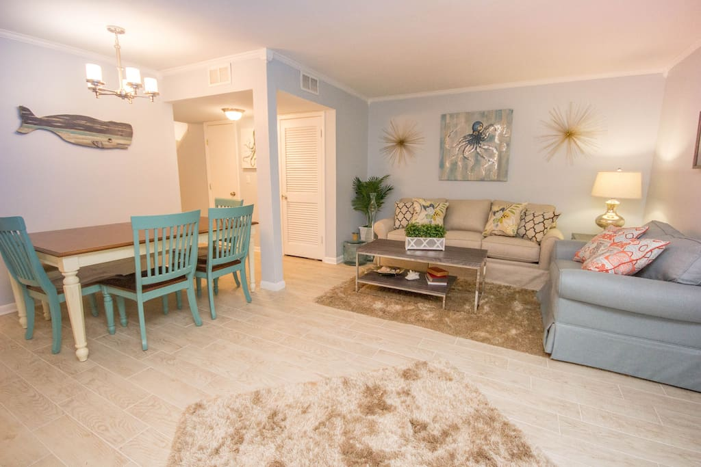 Calming colors are just what you're looking for in a Vacation Getaway. Bring the whole family as this condo sleeps 13!