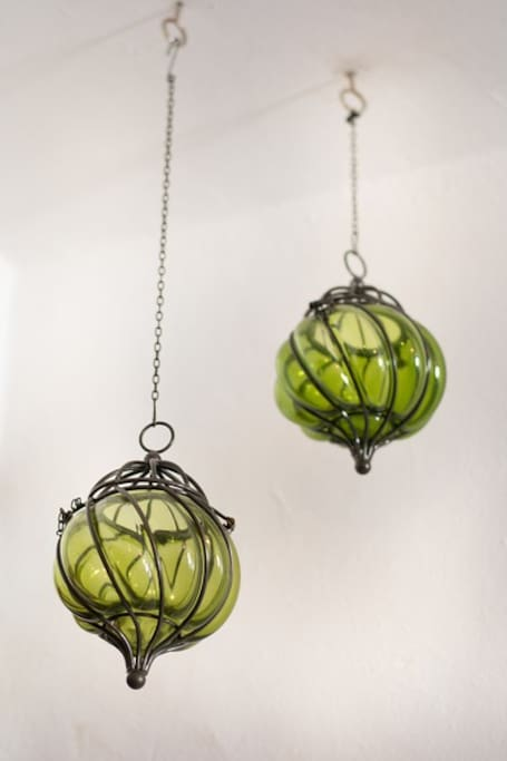 Mexican blown glass decorative pieces