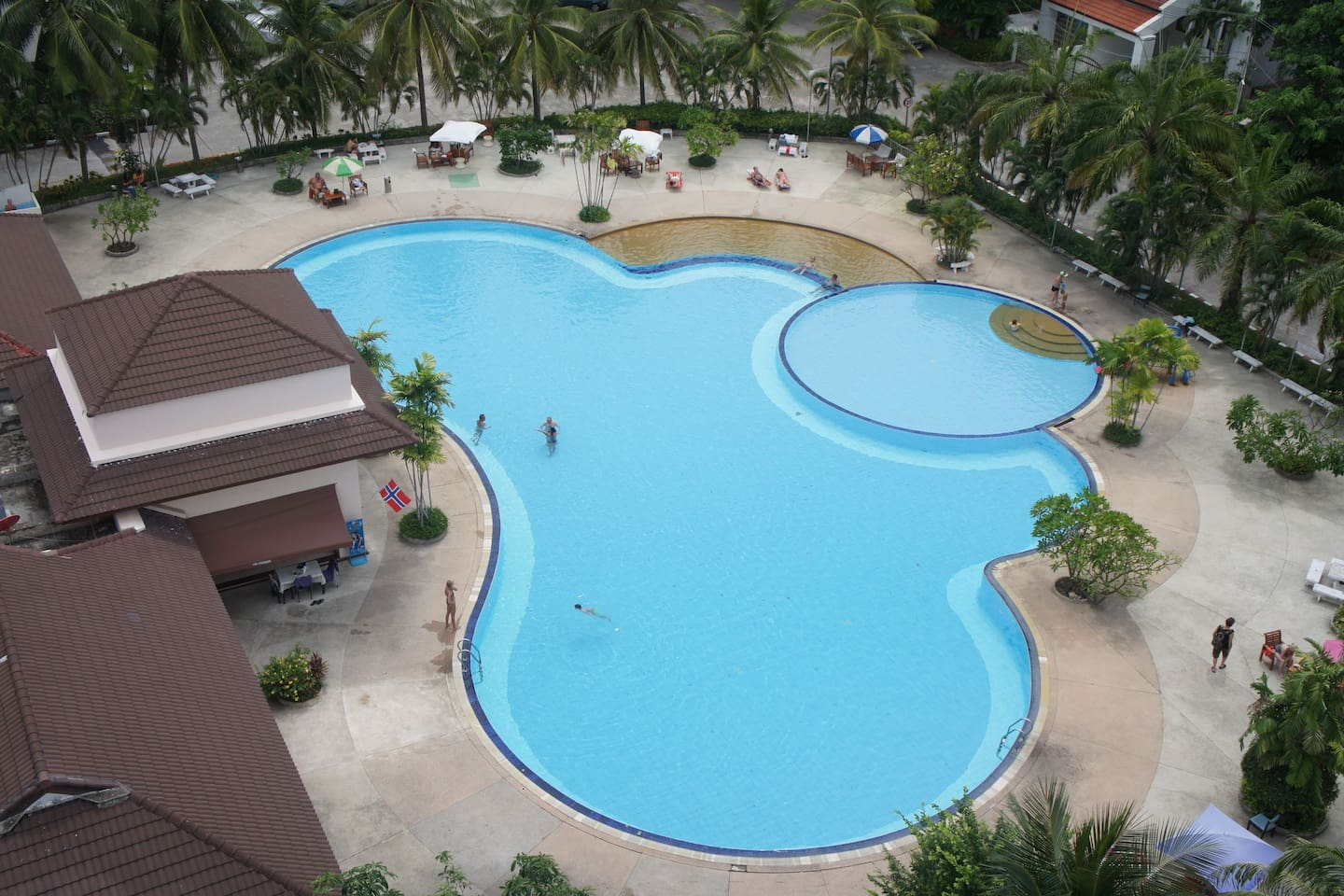 The swimming pool is huge, there's also a kid's pool and even a poolside restaurant.
