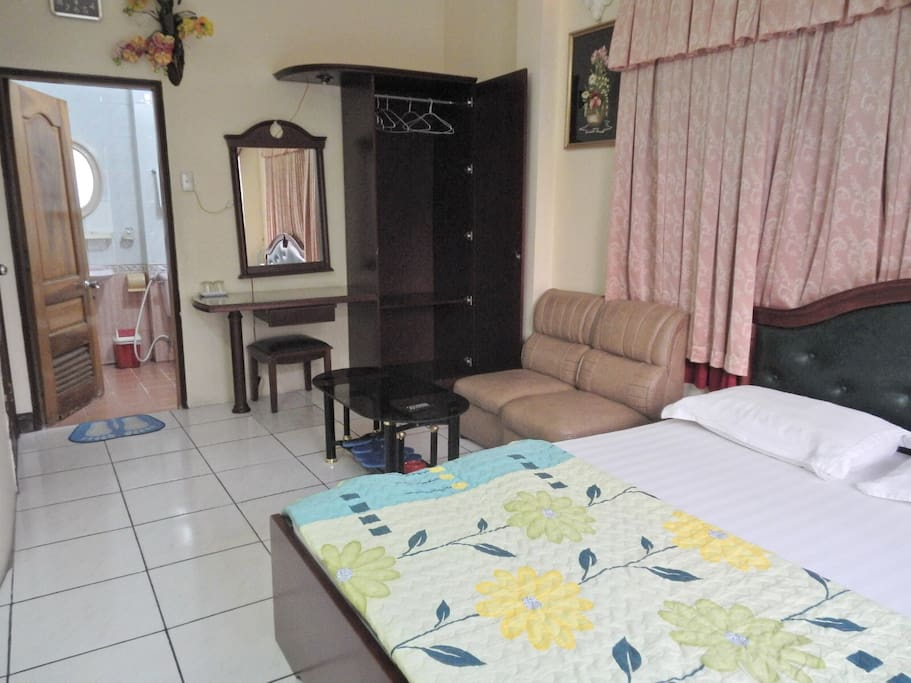Large and spacious with sitting area.