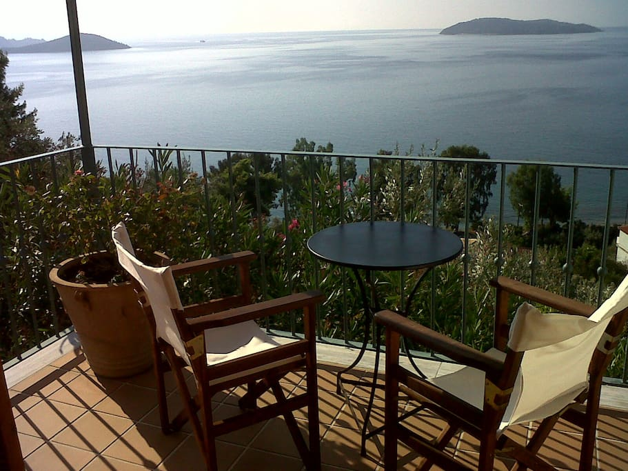 View from balcony of Aegean Sea and surrounding islands