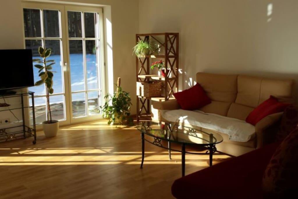 Helles, sonnendurchflutetes Wohn-/ Esszimmer mit zwei Sofas, TV und großem Esstisch.
