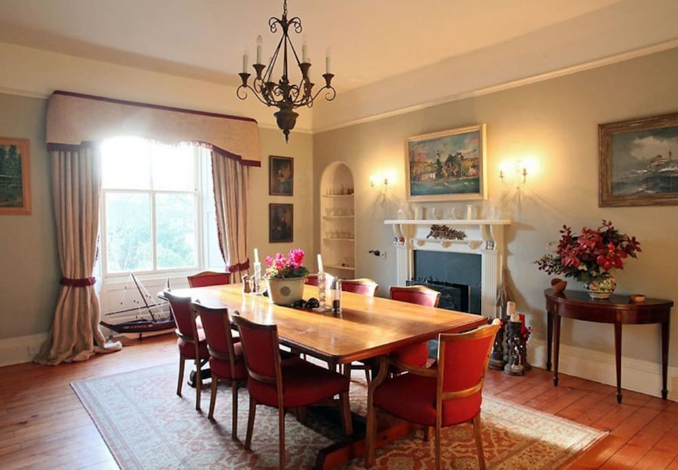 Dining room with open fire