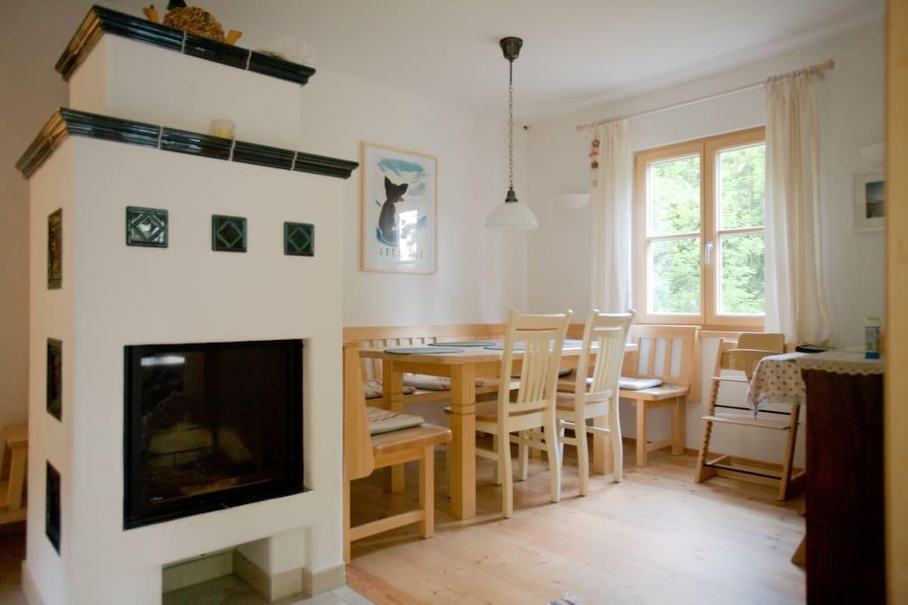Kitchen / Dining area.  Traditional Kachelofen.