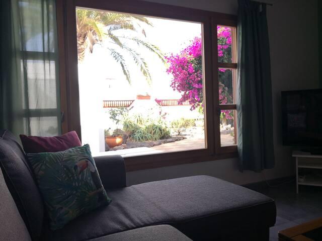 Disfruta del jardín mientras te relajas en el sofá. Relaxing view from the living room