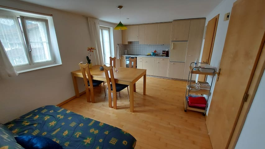 Wohnküche mit Esstisch und Schlafsofa