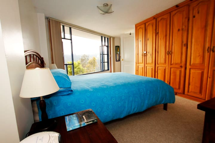 Bedroom has good storage and enjoys its own panoramic window