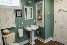 Spacious bath includes jacuzzi tub and shower!