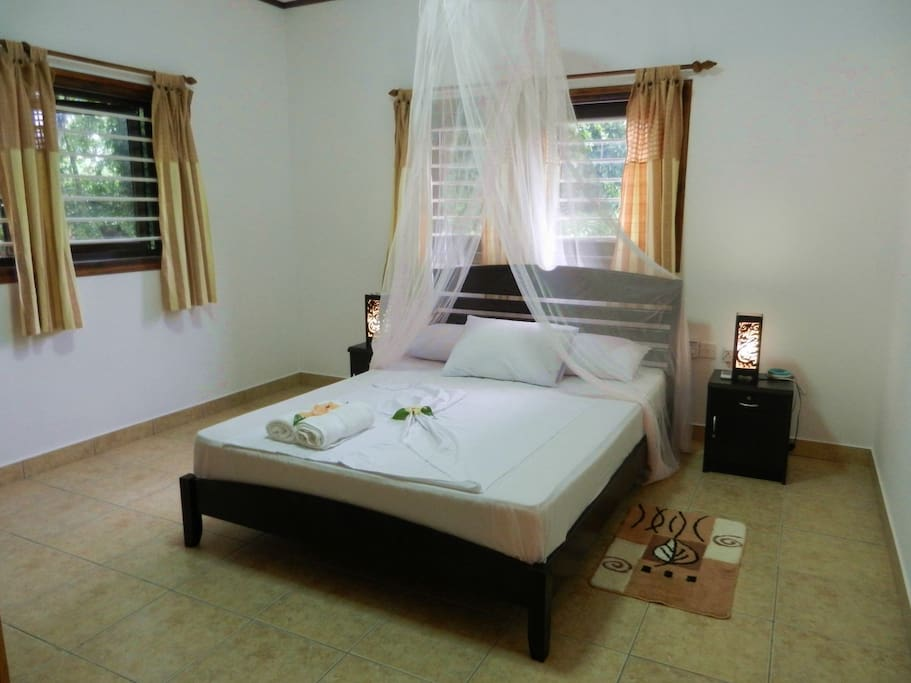 Bedroom with a double bed and mosquito net