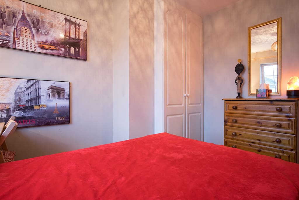 Bright & Sunny double room upstairs, small desk with foldable chair, cabinet, dresser, wardrobe.