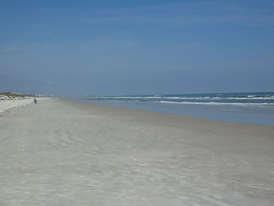 Beach is wide and has tidal pools that are perfect for kids.