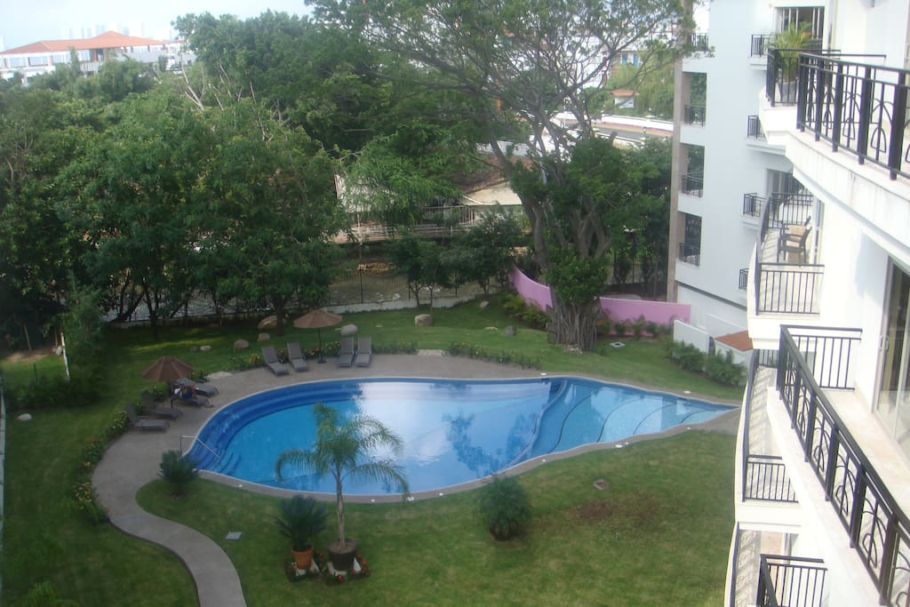 view of pool from our floor
