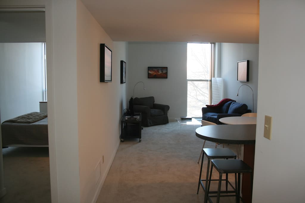 Entry view of living room, dining and bedroom areas