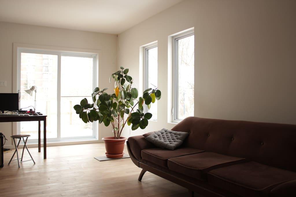 lumineux, plancher de bois, donne sur la terrasse.