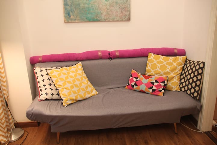Our sofa in the workshop area