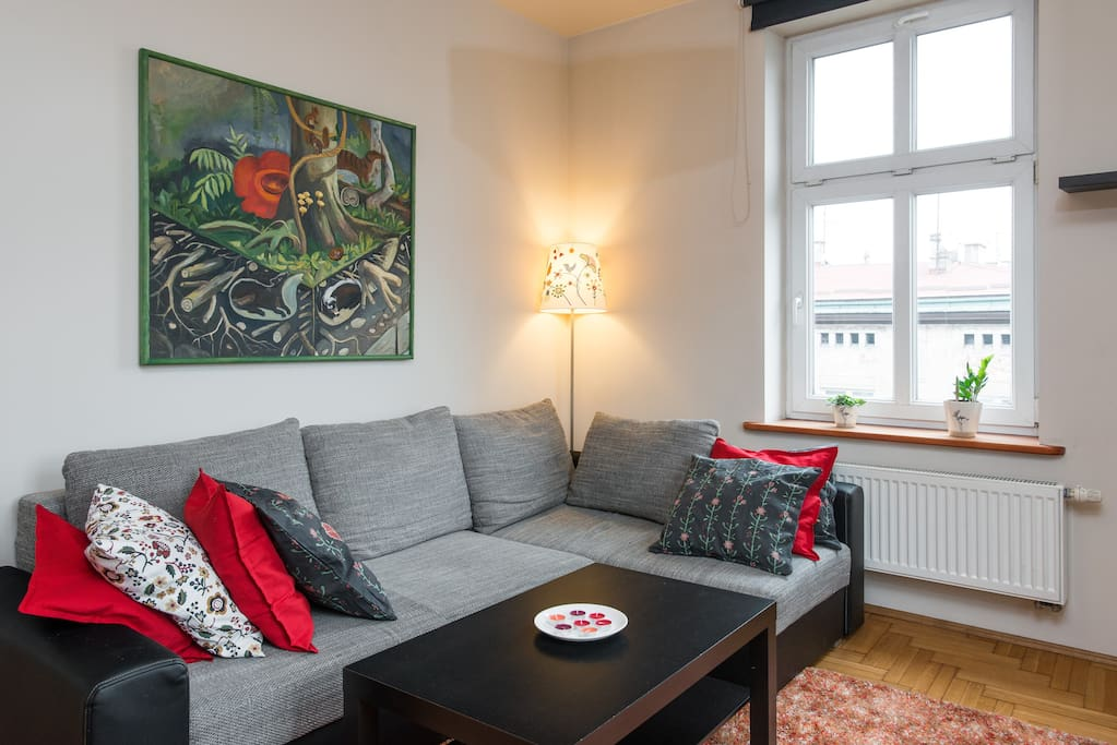 Comfortable sofa and one of my paintings