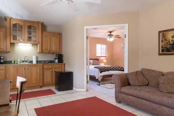 The guesthouse is thoroughly cleaned and sanitized between guests.