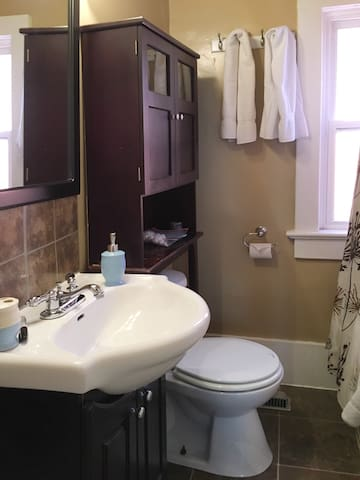 Bathroom with Shower, Tub, Towels, Shampoo/Conditioner/Body Wash and other amenities in case you forget something.