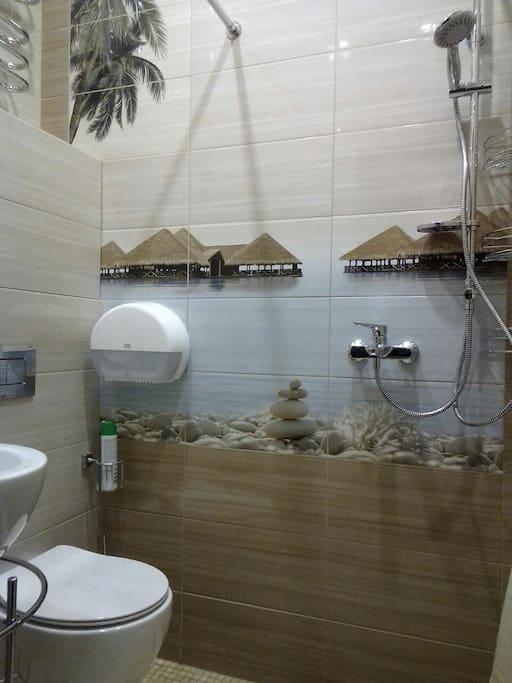 Общий совмещенный туалет и душ