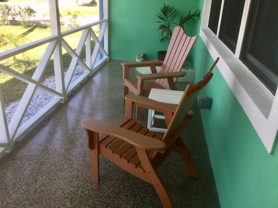 Tarrazzo front porch patio to sit back and listen to the waves