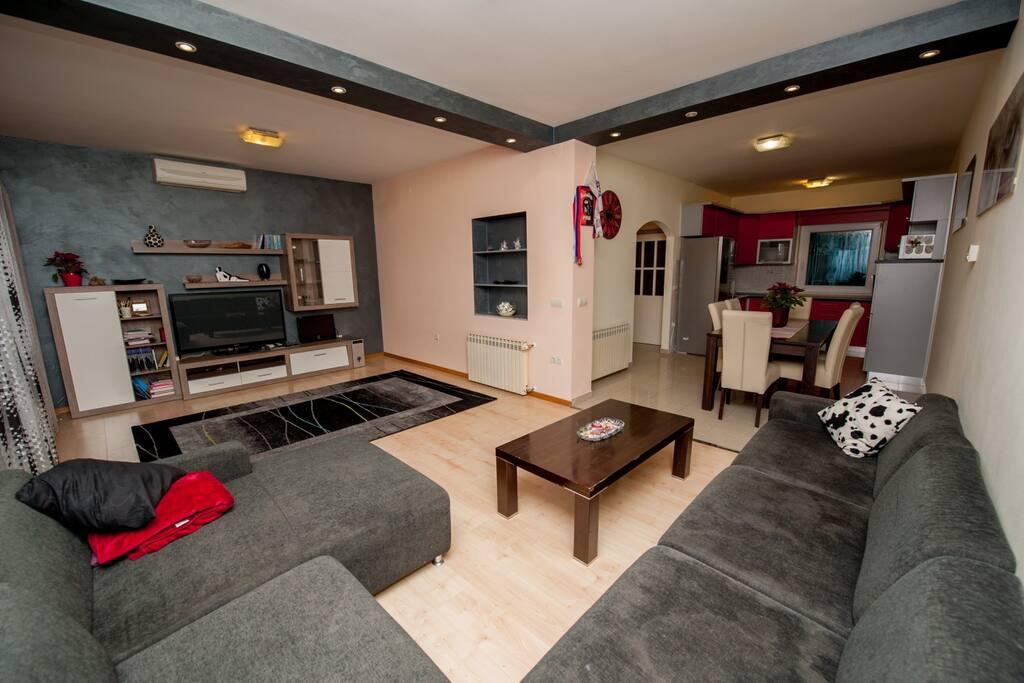 Living room + Dining room + Kitchen