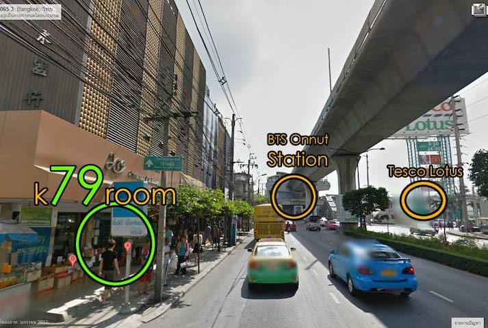 k79room Close to BTS Onnut Station and Tesco lotus , Big C and Night market