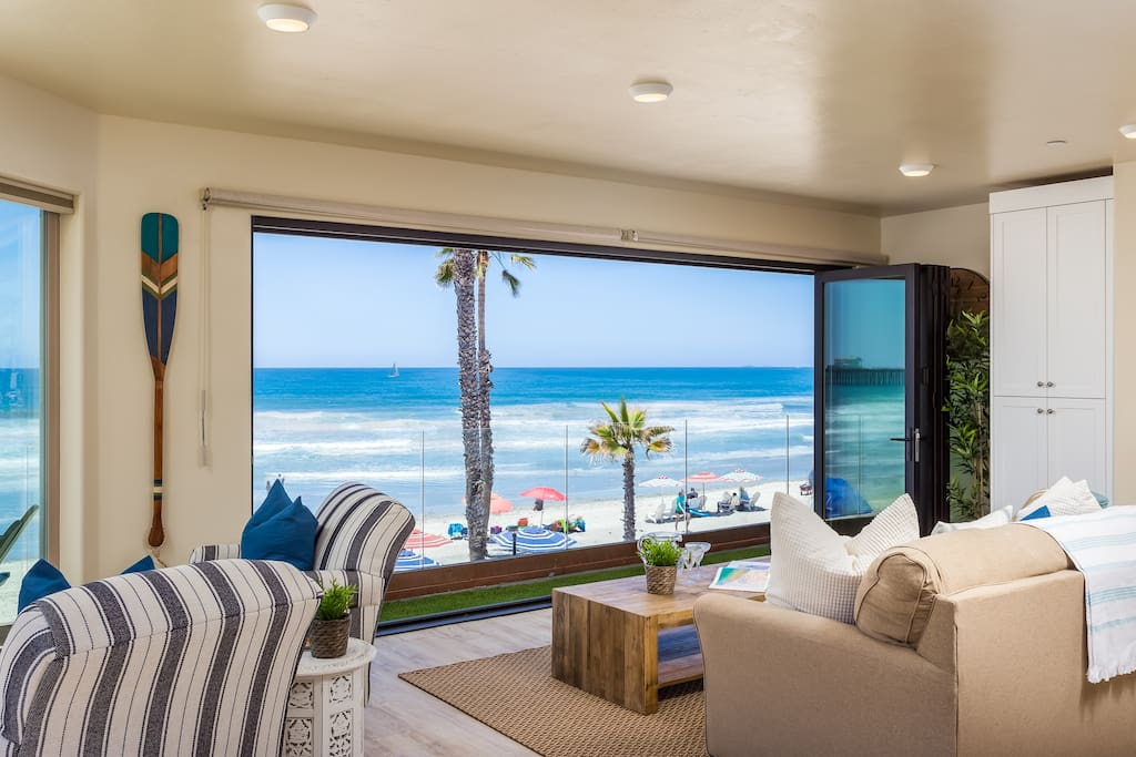 Looking Out the Panoramic Doors Towards a Gorgeous Ocean View