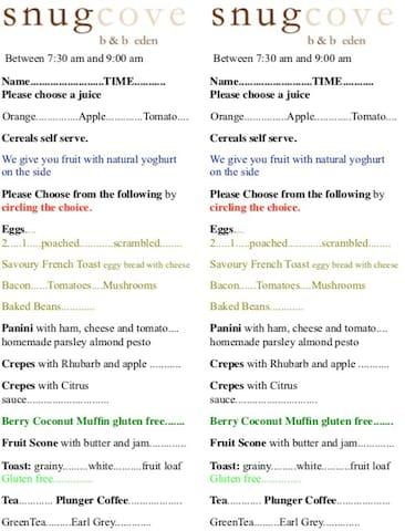 Our breakfast menu.