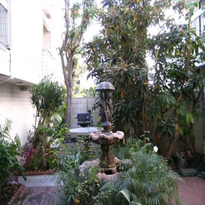 Courtyard inside apartment complex